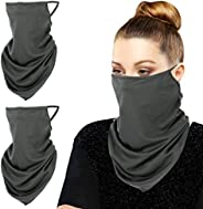 MoKo Scarf Mask Bandana with Ear Loops 3 Pack, Neck Gaiter Balaclava UV Sun Protection Face Mask for Dust Wind