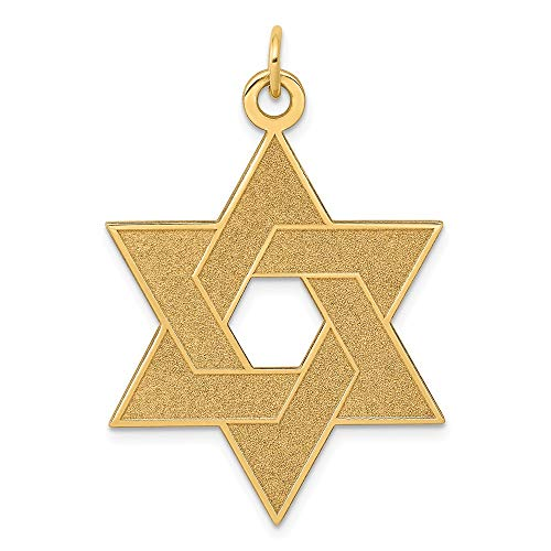 (14k Yellow Gold Laser Designed Jewish Jewelry Star Of David Pendant Charm Necklace Religious Judaica Fine Jewelry Gifts For Women For)