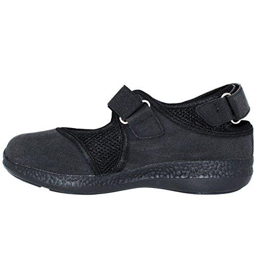 Mens Marche Léger Coupé Velcro Sangle Sport Mary Jane Formateurs Noir / Noir