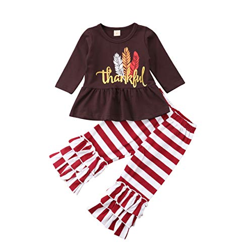 Toddler Girls My First Thanksgiving Long Sleeve Brown Shirt Feather Print Top Red+Striped Pants Ruffles Clothes 2PCS (1st My Sleepsuit Christmas)