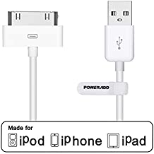 [Apple MFi Certified] Poweradd 30 Pin USB Charging and Sync Dock Connector Data Cable for iPhone 4/ 4S, iPhone 3G/ 3GS, iPad 1 / 2 / 3, iPod Touch, iPod Nano - 4.0 Feet / 1.2 Meters (White)