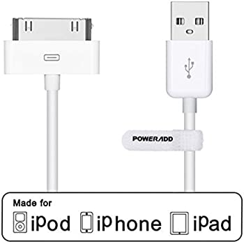 POWERADD [Apple MFi Certified] 30 Pin USB Charging and Sync Dock Connector Data Cable for iPhone 4/4S, iPhone 3G/3GS, iPad 1/2/3, iPod Touch, iPod Nano - 4.0 Feet/1.2 Meters (White)