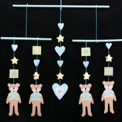 Gisela Graham Wooden Teddy Decorative Hanging Mobile Baby Boy
