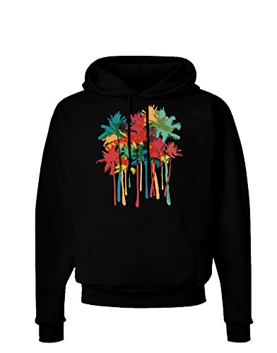 TooLoud Paint Splash Palm Trees Dark Hoodie Sweatshirt - Black - Medium