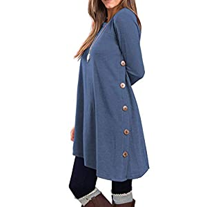 KORSIS Women's Long Sleeve Round Neck Button Side T Shirts Tunic Dress