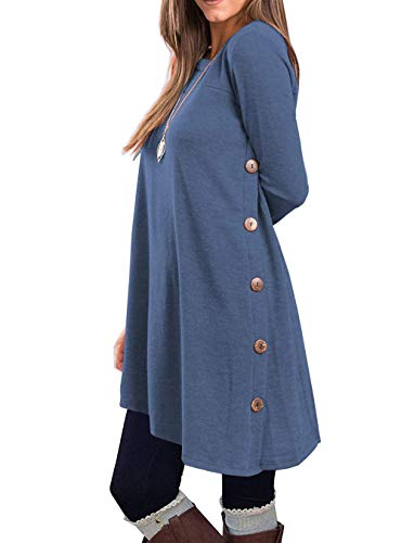 KORSIS Women's Long Sleeve Round Neck Button Side T Shirts Tunic Dress Deep Blue ()