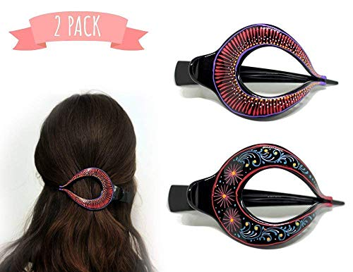 - Hair Barrette Hand painted Hair Clips. Styling for Women and Girls. this Attractive Hair Accessory can be used as a Ponytail Holder or a Hair Grip. for Thick or Thin Hair. 2 Pcs Uniquely Hand Crafted