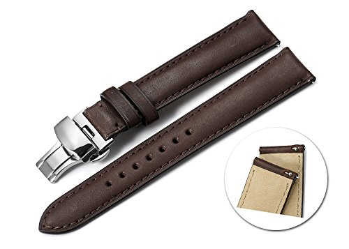 iStrap 21mm Calf Leather Watch Strap Quick Release Band Depl