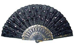 Beautiful Lady's Silk Hand Fan with Black -