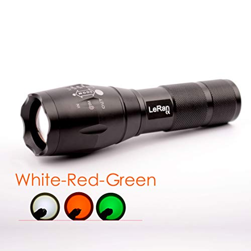 LeRan Cree T6 LED Flashlight, White, Green, Red Filter Lens, Magnetic Tail Switch for Convenient Stand, Aluminium-Alloy Housing, 1x18650 or 3xAAA Batteries Required