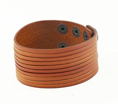 True Heart Style Genuine Sliced Leather Bracelet, Layered Stacked Stranded, 3.5 cm in 10 strands (Sliced Leather)