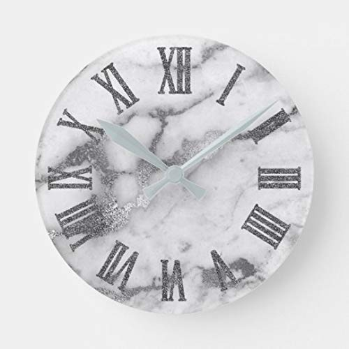 - Enidgunter Silver White Gray Carrara Marble Stone Roman Number Large Wall Clocks Decorative for Living Room Kitchen Bedroom Bathroom Home Office Decor 12 inches