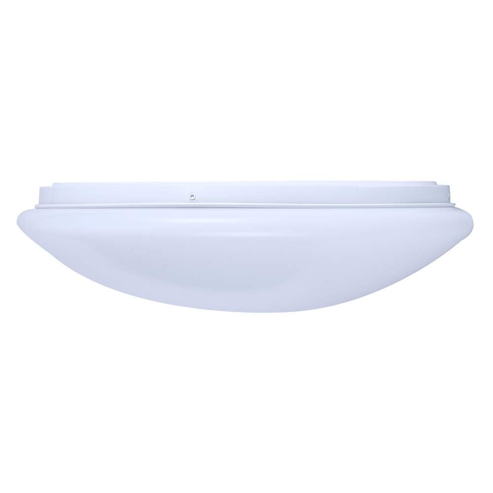 Surface Mounted Flush Light in White & Opal 15.9'' Polycarb, 24W 4000K Natural White 1890 Lumen, TRIAC Dimmable, Damp Location IP20, 5 Year Warranty