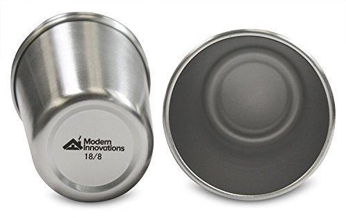 Modern Innovations 16 Ounce Pint Cups Set of 5 Drinking Glasses Shatterproof Tumblers Made of Food Grade Quality, BPA Free Stainless Steel – Perfect for Camping, Picnics, Indoor & Outdoor Use
