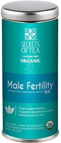 Secrets of Tea- Male Fertility Tea-Aphrodisiac Testosterone and Libido booster tea for men with Ashwagandha, Horny Goat Weed and Ginko- USDA Organic- Delicious Hot or Cold- 40 Cups