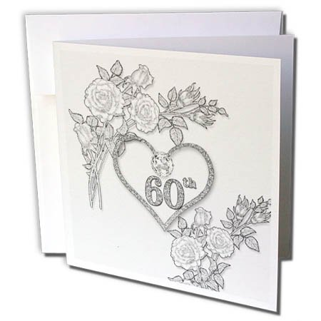 60s Linen (3dRose Doreen Erhardt Wedding Collection - 60th Diamond Wedding Anniversary Word Art with Heart on Linen White - 6 Greeting Cards with envelopes (gc_264588_1))