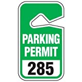 PARKING PERMIT/RED/#351-400Black/Red on White 351-400