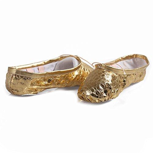 Jinfengkai Ballettschuhe / Ballett schläppchen aus Leinen Gold dot