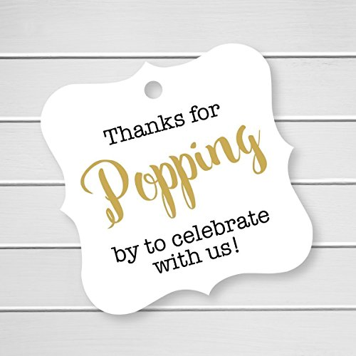 Thanks For Popping By To Celebrate With Us! Baby or Bridal or Wedding Favor Hang Tags (FS-370-2) (Bridal Hang Tags)