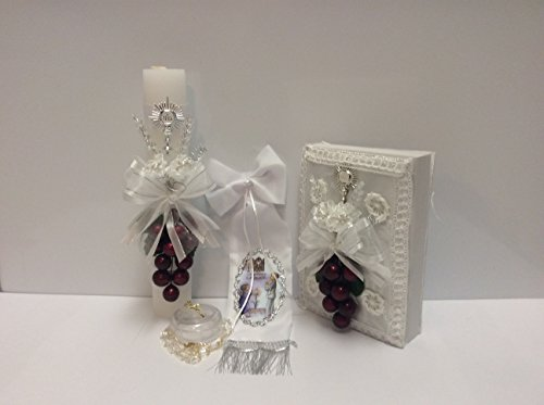 First communion candle set with grape details Communion Candle