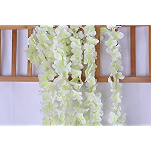 Lannu 5 Pack 13 FT Artificial Hydrangea Flower Vine Wisteria Garland Vines Cattleya Flowers Plants for Home Wedding Party Decor, Cream 4