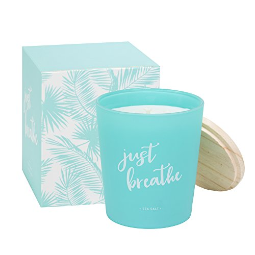 Eccolo Sea Salt Scented Candle, Just Breathe Quote, Matching Gift Box - Made in Spain 7.5 Oz by Eccolo World Traveler