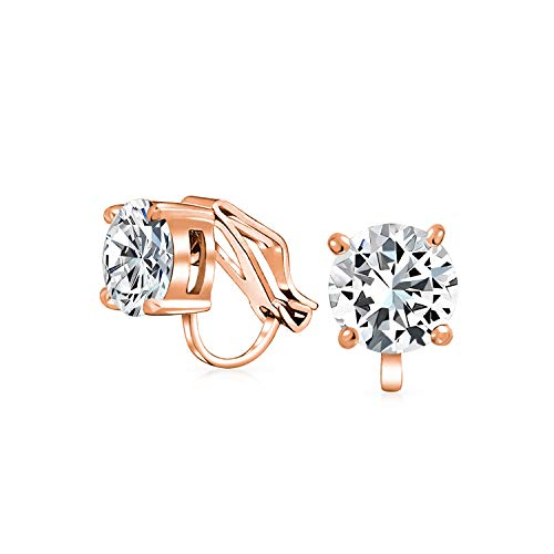 2CT Brilliant Cut Solitaire Round Cubic Zirconia CZ Clip On Stud Earrings For Women Rose Gold Plated Brass