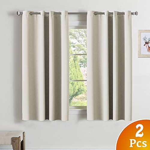 Turquoize Bedroom Room Darkening Draperies Beige Curtains 63 Inch Length Blackout Drapes/Panels for Living Room, Grommets Window Treatment Pair Curtains for Bedroom, Nursery 2-Pack, 52 x 63 Inch Long Review