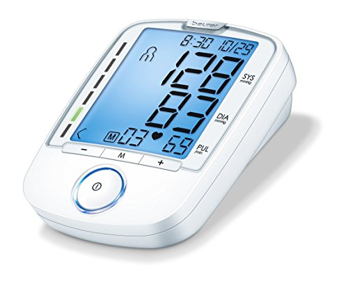 "Beurer Upper Arm Blood Pressure Monitor with cuff 8.7"" to 16."" – XL easy to read display – Storage bag included, BM47"