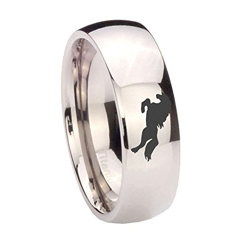 His and Hers 2 pieces Titanium Horse Design Silver Dome Wedding Ring Set 6 & 8mm Size 4 to 13