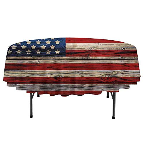 Douglas Hill 4th of July Waterproof Anti-Wrinkle no Pollution Wooden Planks Painted as United States Flag Patriotic Country Style Round Tablecloth D67 Inch Red Beige Navy Blue