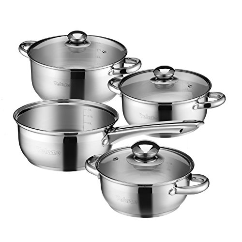 - Velaze 7-Piece Professional Grade Non Stick Pots and Pans, Tight-Fitting Covers Classic Kitchen Stainless Steel Cookware Set, Dishwasher Safe, 15.8 x 14 x 12 inches, Sliver