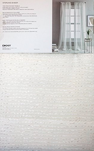 DKNY Pair of Window Curtains Drapery Rod Pocket Panels Set of 2 Metallic Silver Horizontal Textured Stripes on a Cream Background 50 x 84 -- Sterling Sheer