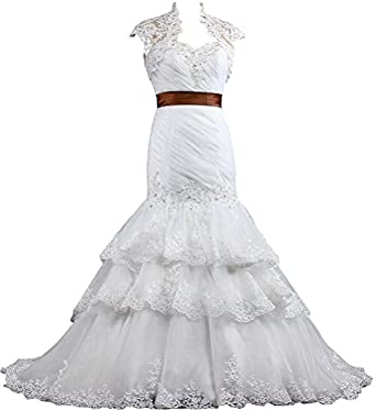 ANTS Women\'s Formal Mermaid Wedding Dresses Bridal Gowns with Jacket ...