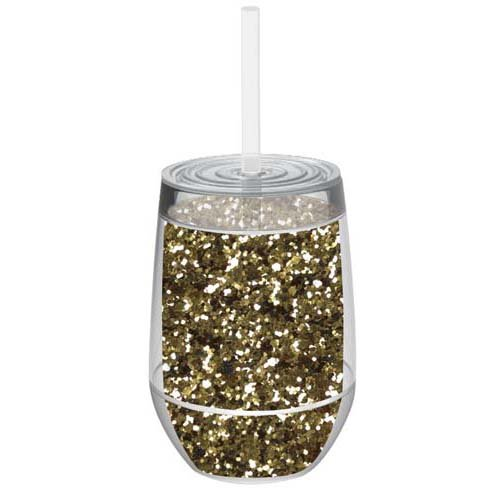 Stemless 10oz Glitter Wine Glasses By Slant Collections (Gold Glitter)