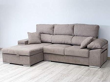 Muebles Baratos Sofa Chaise Longue Tres plazas 270 cms, Subida A Domicilio, Color Marrón, ref-03