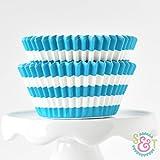 Rugby Stripe Aqua BakeBright Greaseproof Cupcake Liners