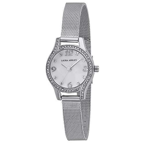 Laura Ashley Womens Mini Silver Crystal Bezel Mesh Bracelet Watch