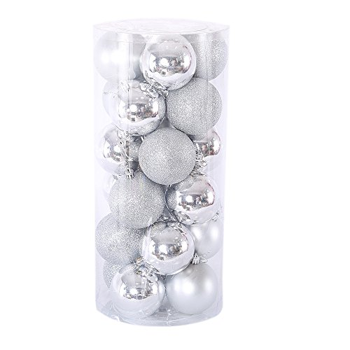 Ornaments - 24pcs 40mm Shatterproof Christmas Ball Silver (Silver Matte Ornaments)