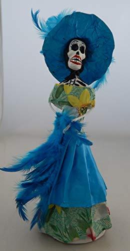 COLOR Y TRADICIÓN Mexican Catrina Doll Day of Dead Skeleton Paper Mache Dia de Los Muertos Skull Folk Art Halloween Decoration # 818 for $<!--$17.99-->