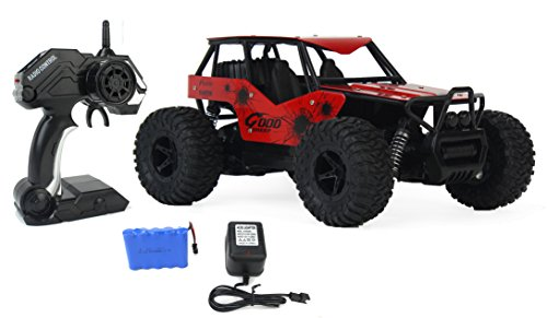 The King Cheetah Turbo Remote Control Toy Red Rally Buggy RC Car 2.4 GHz 1:16 Scale Size w/ Working Suspension, Spring Shock Absorbers