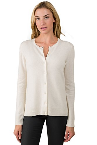 JENNIE LIU Women's 100% Cashmere Button Front Long Sleeve Crewneck Cardigan Sweater (M, Cream)
