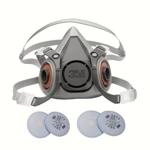 (3M 6000 Series Respirator Medium Half Mask Facepiece with Adjustable Straps Size Medium 6200 with 2 Pairs of 3M 2071 Filters)