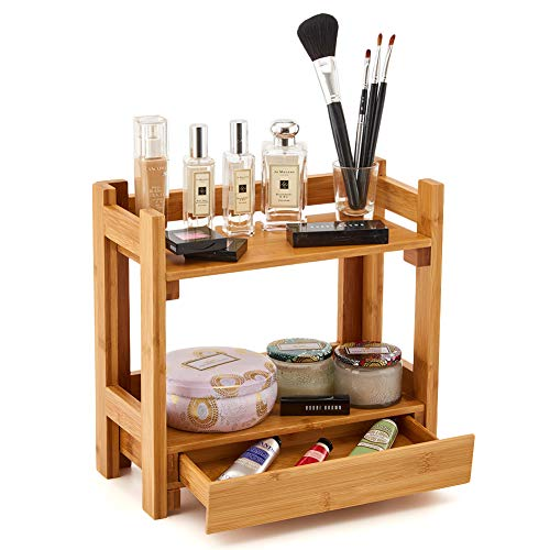 (EZOWare Cosmetic Organizer, 2-Tier Multifunction Bamboo Make Up Skin Care Storage Organizer Rack Holder for Kitchen Countertop Bathroom, Bedroom)