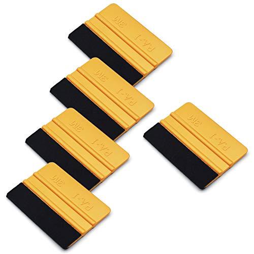 CARTINTS 4Inch Gold Felt Edge Squeegee Vinyl Wrap Scraper Wallpaper Squeegee Window Tint Tool Kits for Auto Vinyl Wrap, Window Tint, Wallpaper Installation-5 Pack ()