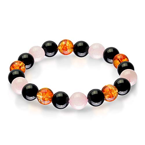 Triple Stone Ultimate Health Bracelet - Men Women Stress Relief Yoga Beads - Inspirational Bracelets - Black Obsidian - Citrine - Rose Quartz - Stone Bead Bracelet (10mm)