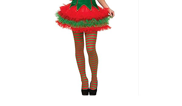 Amazon.com: Christmas Thigh High Socks, Alonea Elf Tights Striped Red Green Christmas Fancy Dress Costume Knee Stockings Long Cotton Warm Sock ...