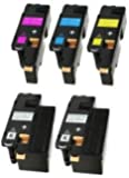 5 (1 SET + 1 BLACK) Compatible Laser Toner Cartridges for Dell C1660, C1660W, C1660DW, C1660CN, C1660CNW   Print Yield: 1,250 Pages (Black) & 1,000 Pages (Colours)