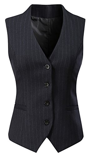 Vocni Women's Fully Lined 4 Button V-Neck Economy Dressy Suit Vest Waistcoat ,Black Pinstripe,US M+ ,(Asian - Vest Leather Lined Fully
