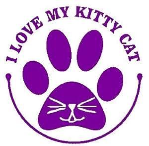 Amazon.com: I Love My Kitty Cat 6 Purple Paw Print Heart